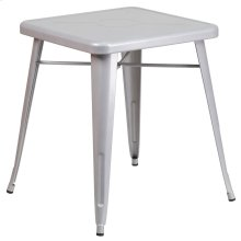 23.75'' Square Silver Metal Indoor-Outdoor Table