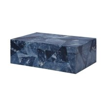 Hand Crafted Decorative Box With Fabric Lining & Removable Lid Featuring Triangular Tiles In Various Blues.