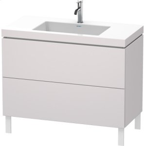 Furniture Washbasin C-bonded With Vanity Floorstanding, White Lilac Satin Matt Lacquer