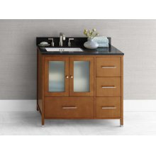 "Juno 36"" Bathroom Vanity Cabinet Base in Cinnamon - Doors on Left"