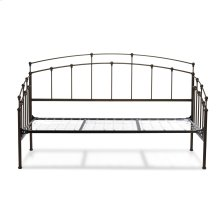 Fenton Complete Metal Daybed with Link Spring Support Frame and Gentle Curves, Black Walnut Finish, Twin