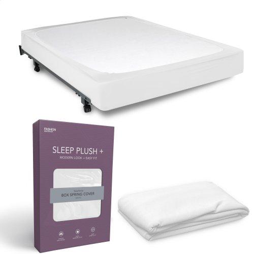Sleep Plush + White Fabric Box Spring Cover, Full
