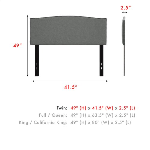 Easton Upholstered Headboard with Adjustable Height and Sloping Nailhead Trim, Keystone Gray Finish, Twin