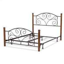 Doral Complete Bed with Metal Panels and Dark Walnut Wood Posts, Matte Black Finish, Queen
