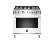 36 inch All Gas Range, 6 Brass Burners White