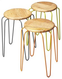 This set of stackable iron stools is both stylish and highly functional. Each stool has a solid mango wood seat with forged iron legs, and features complementary powder-coated color finishes of orange, grey and lime green. Best of all, the stools convenie