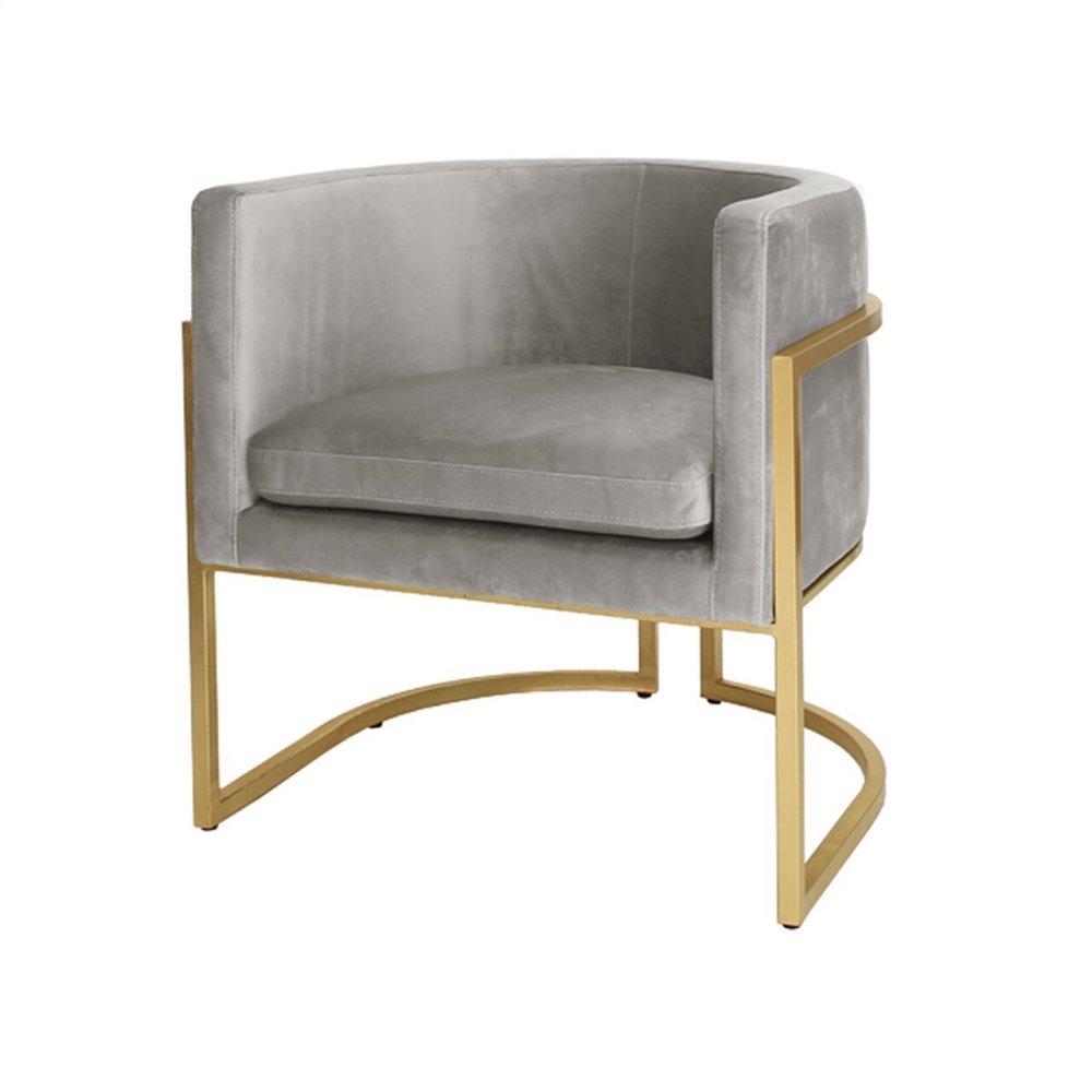 "Gold Leaf Frame Barrel Arm Chair In Grey Velvet Seat Heigh 20.5"""