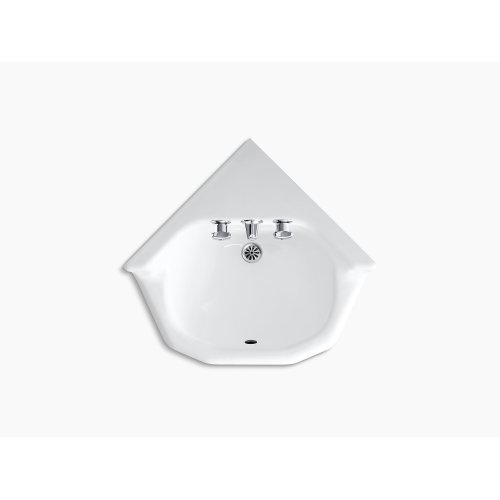 """White 16"""" X 16"""" Corner Wall-mount/shelf Back Bathroom Sink With Factory-installed Triton Faucet"""