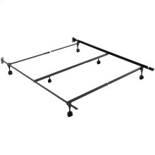 Sentry 78/60-6R Adjustable Bed Frame with Center Support Bar and (6) Rug Roller / Glide Legs, Queen / King / California King
