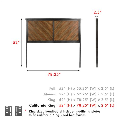 Braden Metal Headboard Panel with Rustic Reclaimed Faux Wood in Diagonal Pattern Frame, Rustic Tobacco Finish, California King