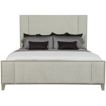 Queen-Sized Linea Upholstered Panel Bed in Cerused Greige (384)