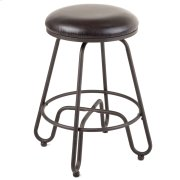 Denver Backless Swivel Seat Counter Stool with Umber Finished Metal Frame and Brown Faux Leather Upholstery, 26-Inch Seat Height Product Image