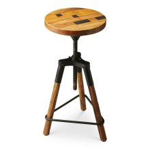 This delightful industrial-look barstool revolves and adjusts to the desired height, making it an ideal seat for all sizes and tables. With a recycled wood seat, its three-legged post design ensures stability and iron triangle base serves as a convenient
