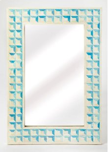 Beautify any space - be it a bedroom, living room, or entryway - with this elegant wall mirror. Crafted from resin and wood products, it features individually hand-cut bone inlays arranged in a repeating square pattern with blue-dyed sections resembling h