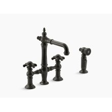 Oil-rubbed Bronze Deck-mount Bridge Bar Sink Faucet With Prong Handles and Sidespray