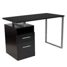 Dark Ash Wood Grain Finish Computer Desk with Two Drawers and Silver Metal Frame