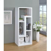 Contemporary White Convertible TV Stand and Bookcase