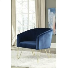 Modern Blue and Brass Accent Chair