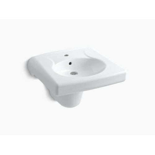 White Wall-mounted or Concealed Carrier Arm Mounted Commercial Bathroom Sink With Single Faucet Hole and Shroud, Antimicrobial Finish