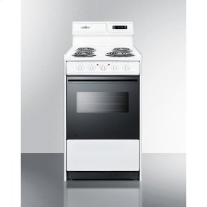 "SummitDeluxe 220v Electric Range In Slim 20"" Width With Digital Clock/timer, Black See-through Glass Oven Door and Light"