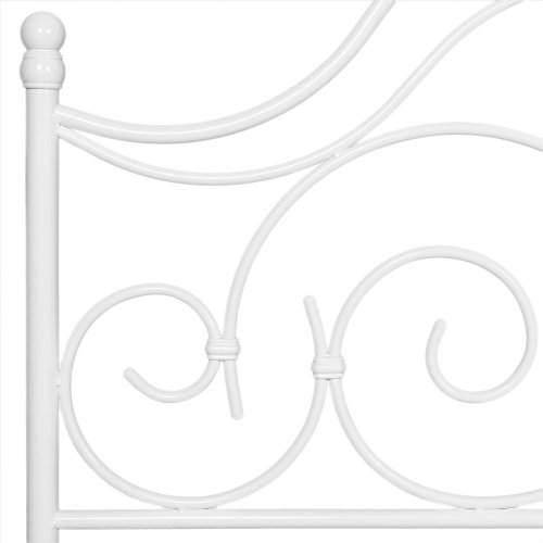Rhapsody Metal Headboard and Footboard Bed Panels with Delicate Scrolls and Finial Posts, Glossy White Finish, California King