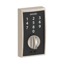 Schlage Touch Keyless Touchscreen Deadbolt with Century trim paired with Merano Lever with Century trim - Satin Nickel