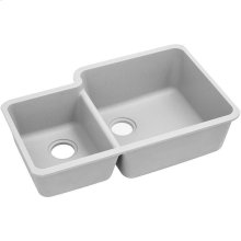 "Elkay Quartz Classic 33"" x 20-11/16"" x 9"", Offset 40/60 Double Bowl Undermount Sink, White"