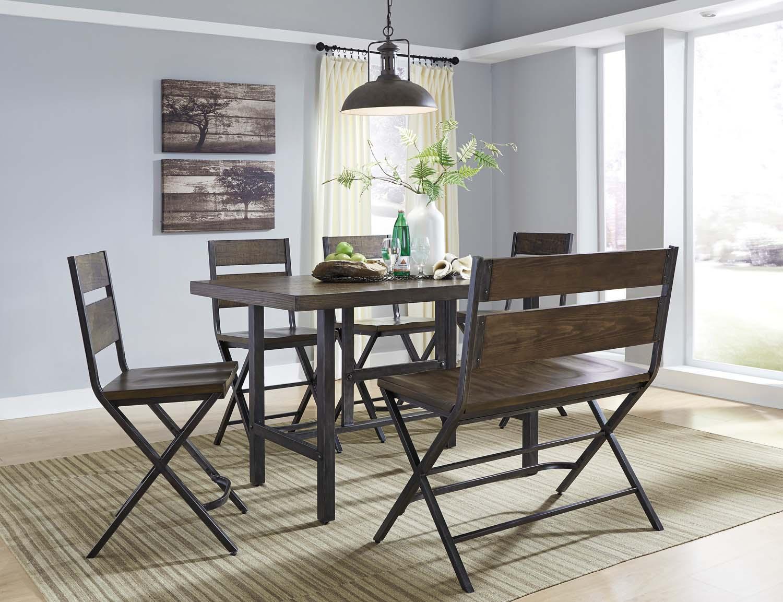Kavara   Medium Brown 6 Piece Dining Room Set