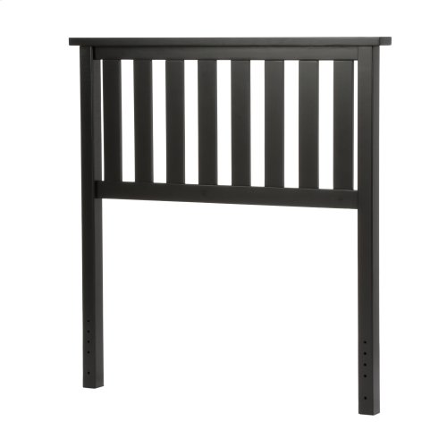 Belmont Wood Headboard Panel with Flat Top Rail and Slatted Grill Design, Black Finish, Twin