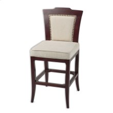 Springfield Wood Barstool with Nail head Trimmed Oatmeal Upholstered Seat and Merlot Finished Frame, 30-Inch