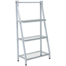 Glass Bookshelf with White Metal Frame