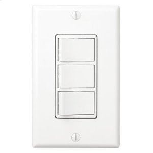 Multi-Function Control, White, Three Switch Control With Four-Function Control, Heater/Fan/Light, Night-Light