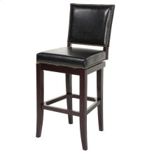 Sacramento Swivel Seat Bar Stool with Espresso Finished Wood Frame, Black Faux Leather Upholstery and Nailhead Trim, 30-Inch Seat Height