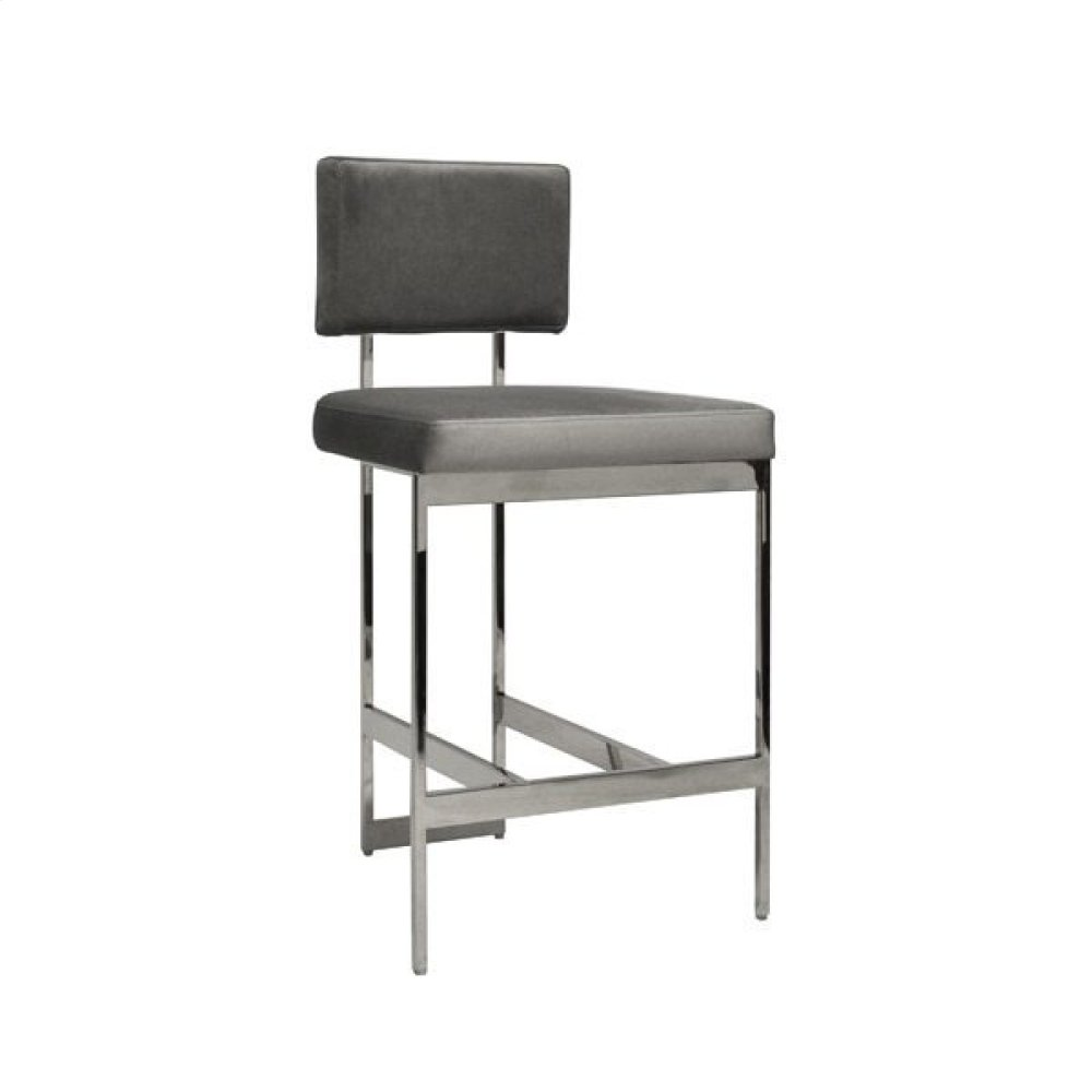 Modern Counter Stool With Grey Velvet Cushion In Nickel Seat Height: 26""