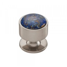 Firesky Mohave Lapis Knob 1 3/8 Inch Brushed Satin Nickel