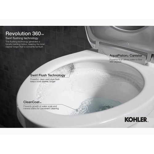 Sandbar Comfort Height Two-piece Elongated 1.28 Gpf Toilet With Skirted Trapway and Revolution 360 Swirl Flushing Technology and Left-hand Trip Lever, Seat Not Included