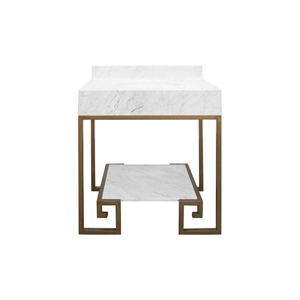 """Greek Key Painted Bronze Base Bath Vanity With White Carrara Marble Top and Shelf - White Porcelain Sink Included - Optional White Carrara Marble Backsplash - for Use With 8"""" Widespread Faucet (not Included)"""