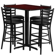 24''W x 42''L Rectangular Mahogany Laminate Table Set with 4 Ladder Back Metal Barstools - Black Vinyl Seat