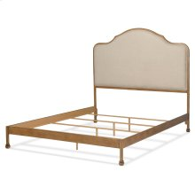 Calvados Complete Metal Bed and Bedding Support System with Sand Colored Upholstered Headboard, Natural Oak Finish, King