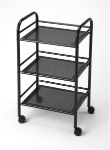 Mobile and versatile, this cart serves a wide range of purposes - three tiers offer plenty of space for storage. Use it as as an end table, in the office to organize books and files, or use it as an eye-catching serving cart. Crafted from tubular steel, i