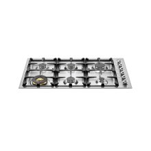 36 Drop-in low edge cooktop 6-burner Stainless Steel