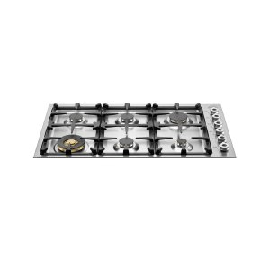 Bertazzoni36 Drop-in low edge cooktop 6-burner Stainless Steel