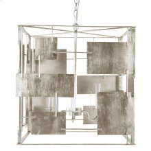 Champagne Silver Leaf Square Chandelier With Abstract Square & Rectangular Details