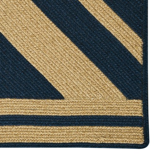 LM-Quilt Pattern Rug Navy Braided Rugs