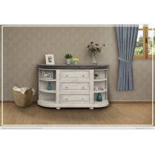 3 Drawers w/ 6 Shelves Console White & Stone Finish