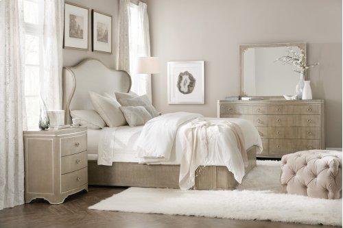 Bedroom Modern Romance California King Upholstered Shelter Bed