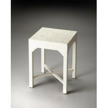 Subtle shades of white, cream and pearl contrast for natural beauty. This bone inlay bunching table features natural iridescence from handcarved natural bone inlay on solid sheesham hardwood. White goes anywhere, its perfectly suitable for any space, in