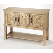 Bring a bit of countryside into you entertaining with this storage buffet. Crafted in Acacia wood and Natural Birch veneers; the exterior door panels are enhanced by the updated X design. Offering you both storage and function in one beautiful addition t