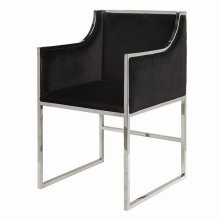 """Black Velvet Dining & Occasional Chair With Nickel Frame. Seat Height: 20"""" Arm Height: 28"""""""