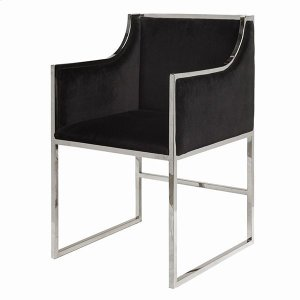 """Worlds AwayBlack Velvet Dining & Occasional Chair With Nickel Frame. Seat Height: 20"""" Arm Height: 28"""""""